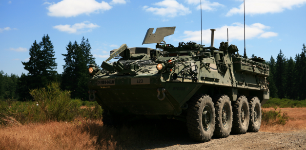 Stryker in forest landscape
