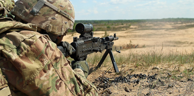 Soldier firing a M240B caliber machine gun