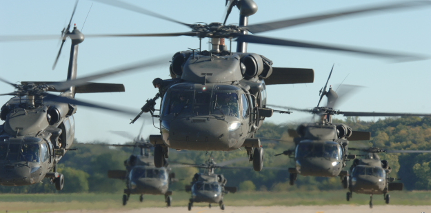 Blackhawk helicopters taking flight