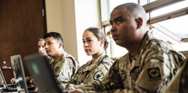 Soldiers inside a classroom.