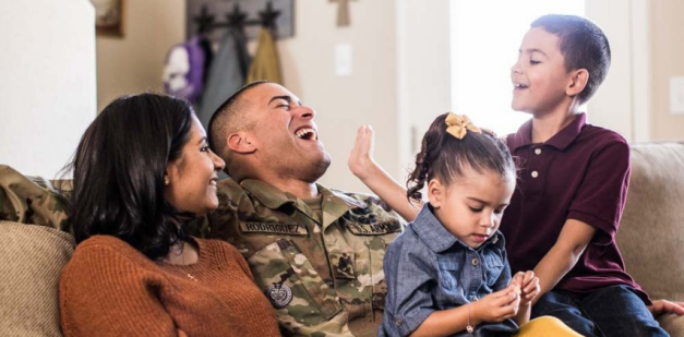 Soldier spending time with his family.