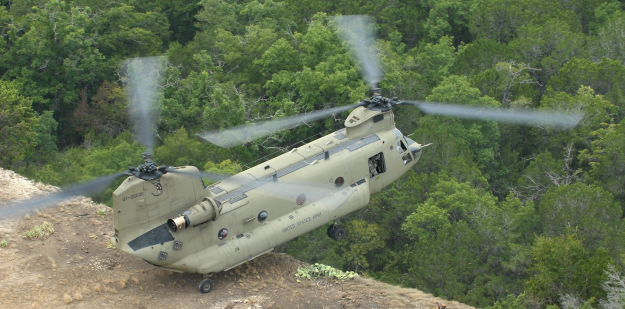 chinook helicopter on edge of cliff