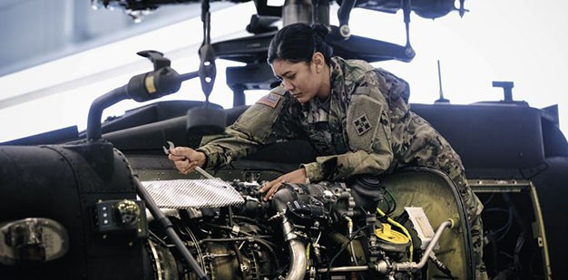 Soldier working on aircraft