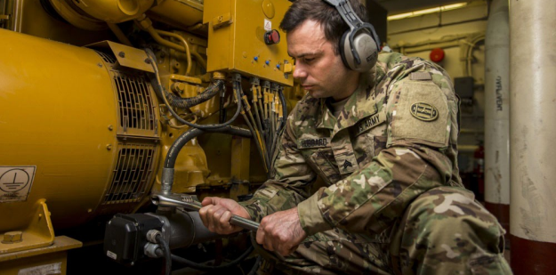 Soldier working on a pump.
