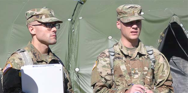 Chaplain candidates during a field exercise.