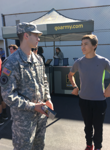 Soldier talks to student at the High School Challenge.