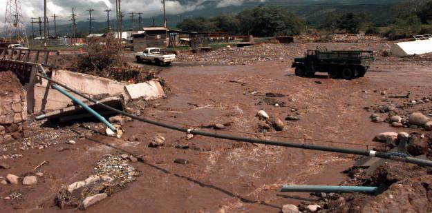 Bridge destroyed by hurricane Mitch