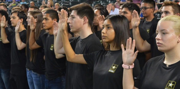Future Soldiers take the oath of enlistment.