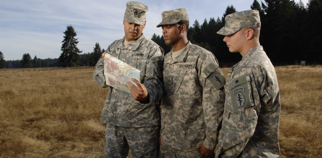 Soldiers reading a map