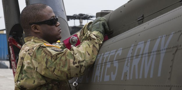 Soldier working on a UH-60 Black Hawk helicopter.