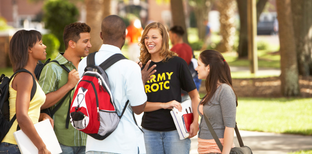ROTC cadets talking to friends at college