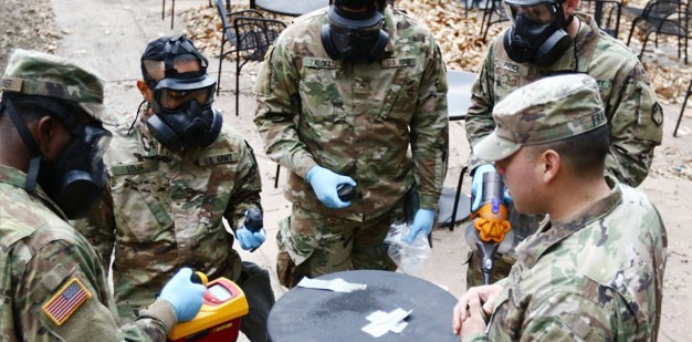 Soldiers conducting Chemical, Biological, Radiological, and Nuclear (CBRN) training.