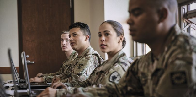 Soldiers in classroom.