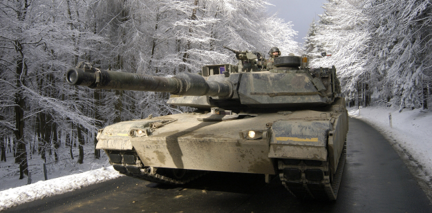 M1 Abrams Tank on road during the winter