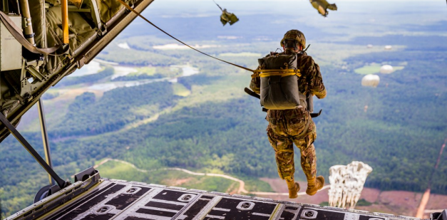 Soldier conducting an airborne jump.