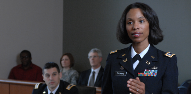 LTC Thomas, an Army JAG lawyer, in court