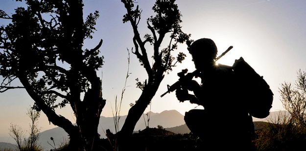 silhouette of soldier by tree