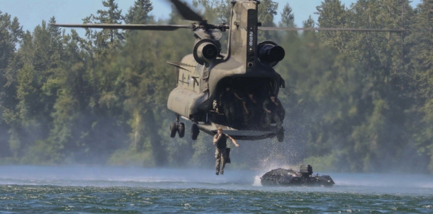 Soldiers helocast into Lake of the Ozarks during the U.S. Army Sapper Leaders Course.