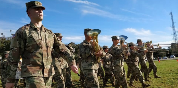 U.S. Army band trombone player during performance