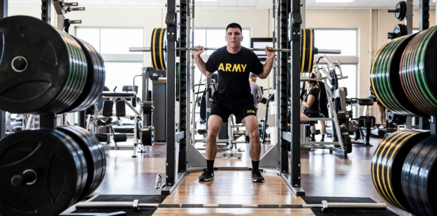 Soldier back squatting