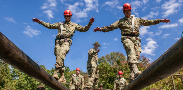 Soldiers on balance beam course
